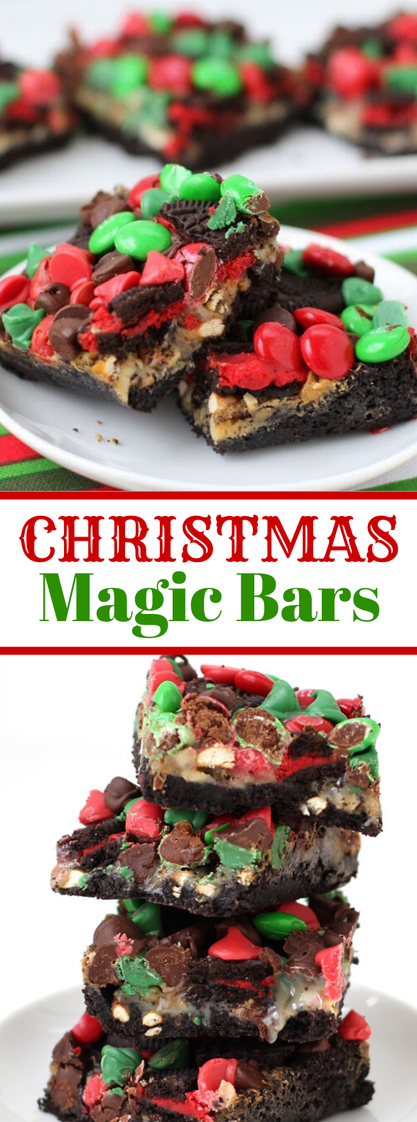 Christmas Magic Bars topped with Red and Green M&M Candies #desserts #holidayparty