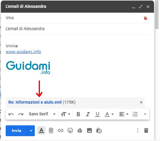 Finestra di composizione messaggio Gmail con email in allegato
