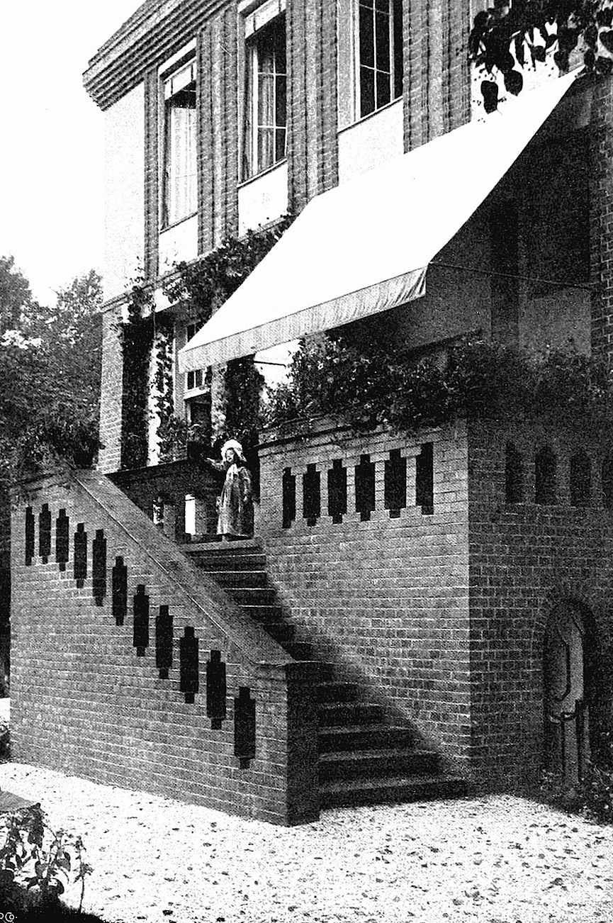 1901 Secession style architecture, a photograph of brick stairs