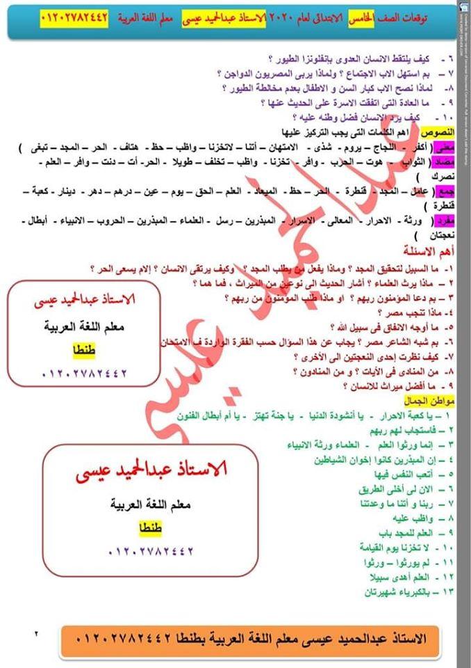 توقعات امتحان اللغة العربية الصف الرابع و الخامس و السادس الابتدائي ترم أول 2020 أ/ عبد الحميد عيسي 8