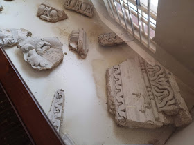 Fragments from the original Drawing Room ceiling at Hatchlands  On display in the Second-hand Bookshop