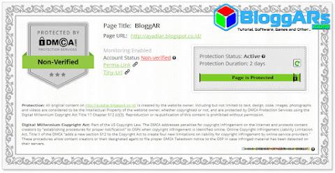 Sertifikat Perlindungan Konten Blog DMCA Status Aktif