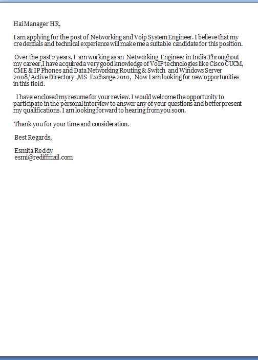 Windows System Administration Cover Letter