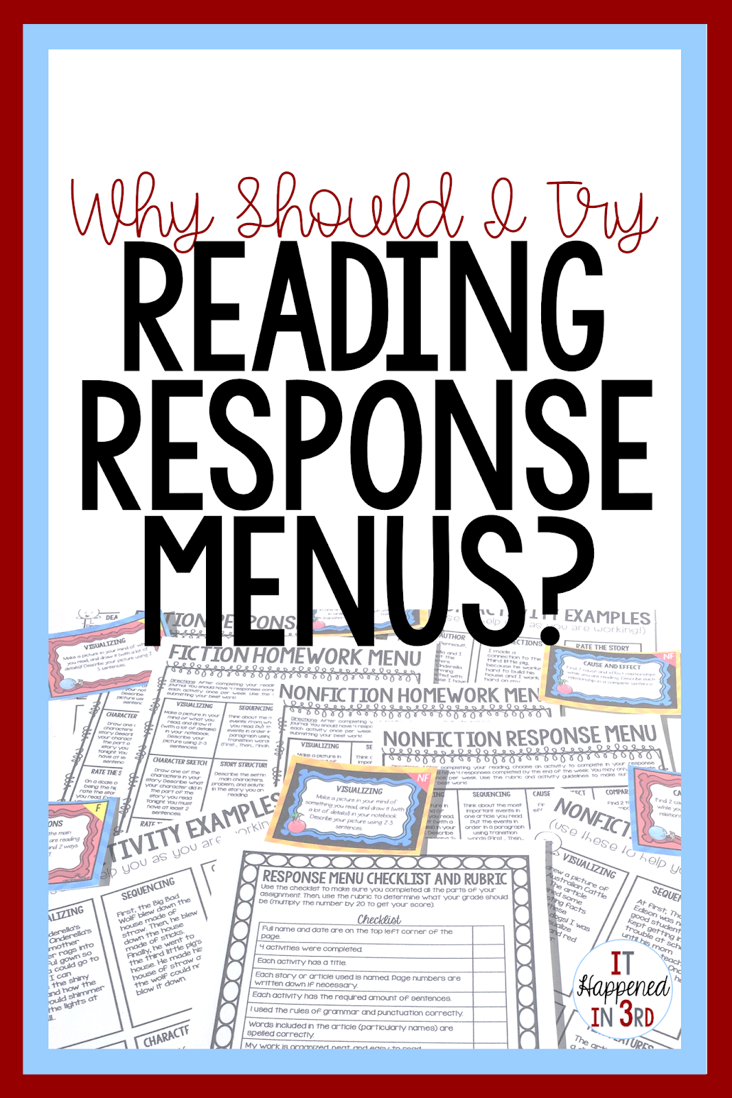 3 Reasons to Use Reading Response Menus in Your Classroom - It Happened in  3rd [ 1600 x 1066 Pixel ]