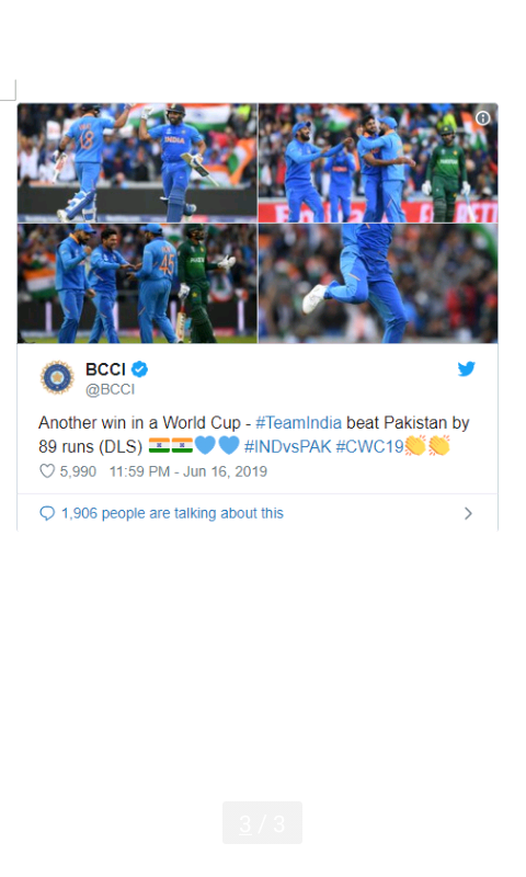 Result of ICC World cup India vs Pakistan  match 16 June 2019