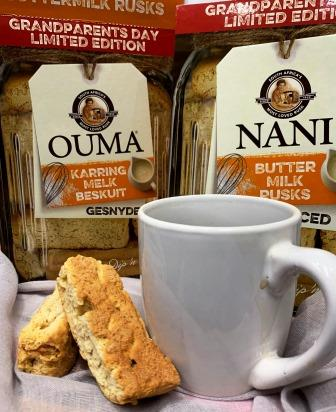 OUMA rusks with cup and OUMA boxes in background