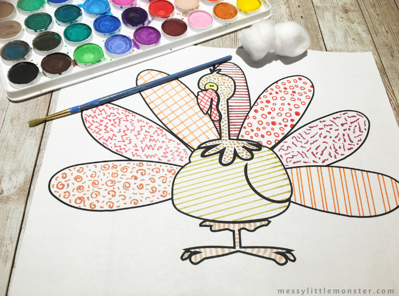 Thanksgiving turkey colouring page for kids