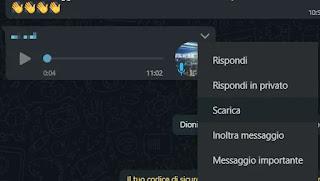 scarica audio whatsapp