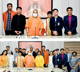 मुख्यमंत्री योगी ने प्रधानमंत्री राष्ट्रीय बाल पुरस्कार से सम्मानित प्रदेश के पांच विजेताओं से की मुलाकात