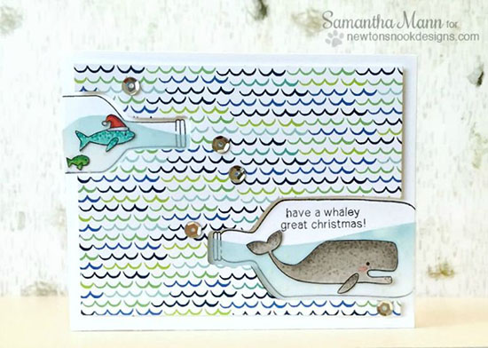 Whale in bottle Christmas Card by Samantha Mann |  Stamp sets by Newton's Nook Designs #newtonsnook #bottle