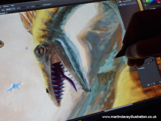head of dinosaur monster with open mouth  WIP art