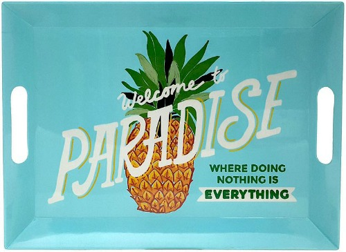 Turquoise Welcome to Paradise Tray with Pineapple and Quote