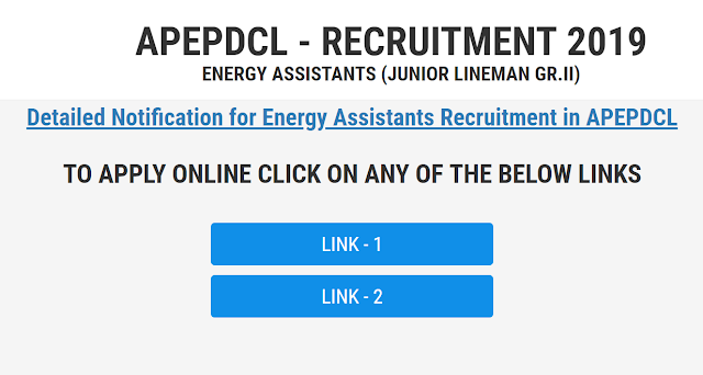 APEPDCL JLM Recruitment 2019-20 Apply Online- Junior Lineman/ Energy Assistant