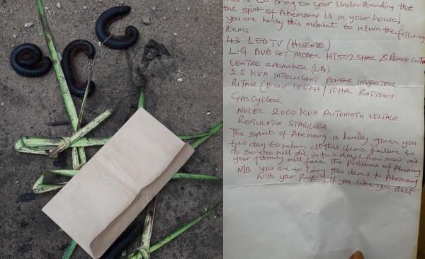 Over 500 millipedes visited Akwa Ibom thief and was given a 'fetish' letter to return all he  stole