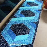 3D hexie blue quilt