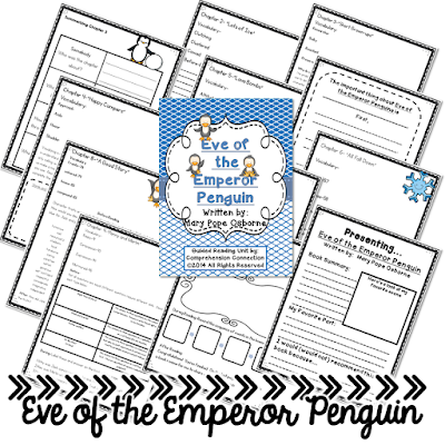 Eve of the Emperor Penguin, A Magic Treehouse title, is a wonderful story of Jack and Annie traveling to the Arctic. This unit includes before, during, after activities and works well for guided reading or lit circles. Check it out!