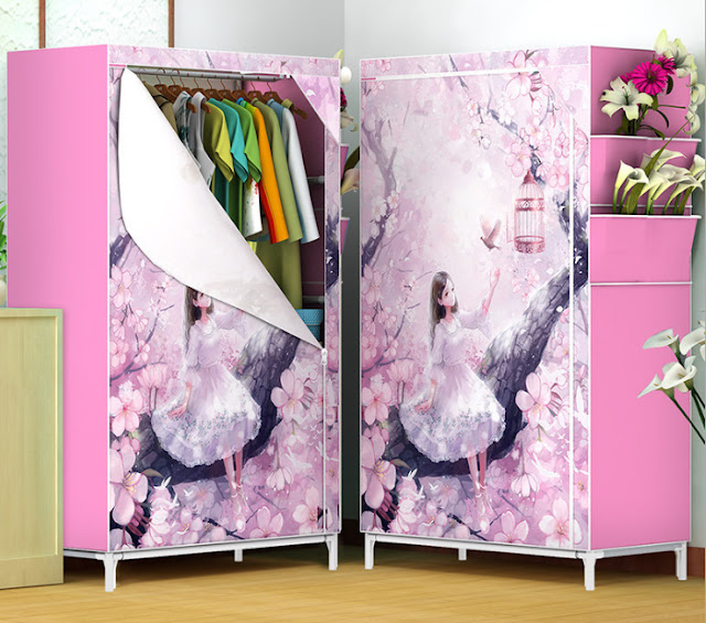 ตู้เสื้อผ้า Qiaodan R-58 ลายสาวน้อย
