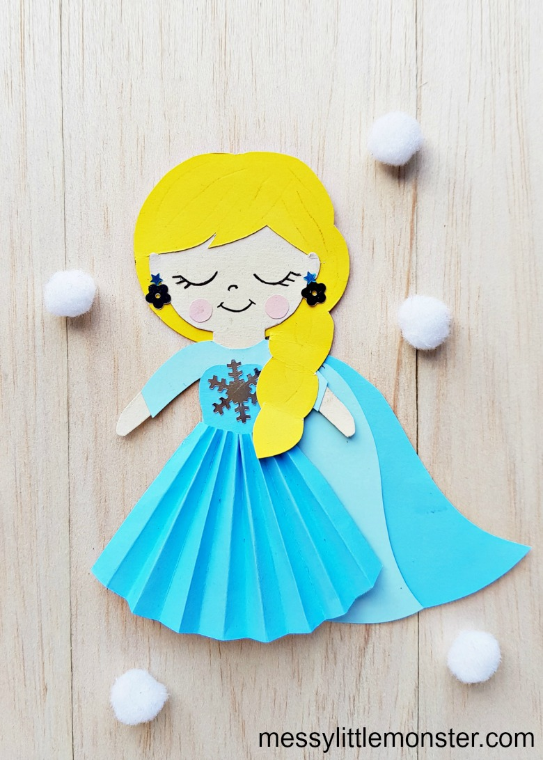 Elsa craft - papercraft doll with template