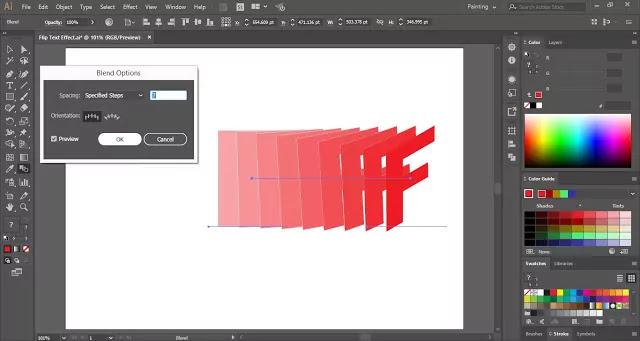Flip Text Effect in Adobe Illustrator