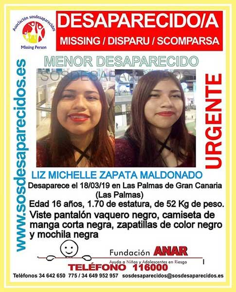 La menor desaparecida en Las Palmas de Gran Canaria, Liza Michelle Zapata