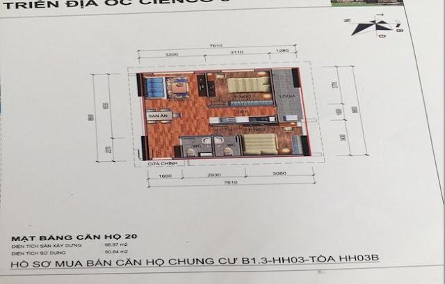 Sơ đồ thiết kế căn hộ 20 chung cư B1.3 HH03B Thanh Hà Cienco 5