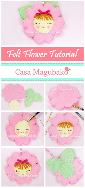Felt Flower Free Tutorial by casamagubako.com