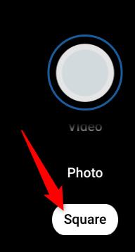 """انقر فوق """"مربع"""" لالتقاط صورة مربعة بدلاً من ذلك."""