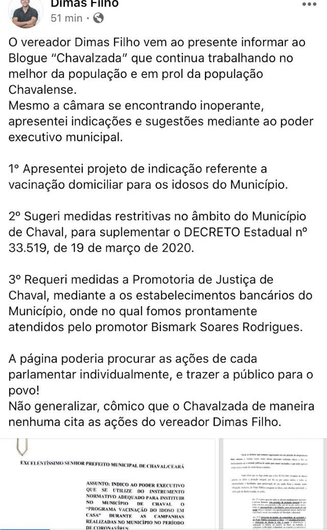 NOTA AO VEREADOR DIMAS E DEMAIS VEREADORES  DE CHAVAL
