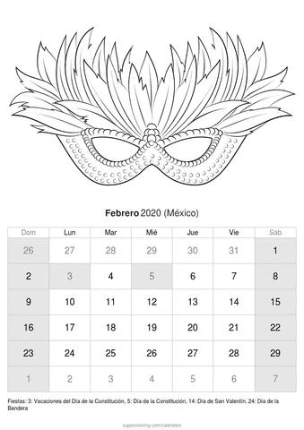 Calendario febrero 2020 ilustrado de méxico