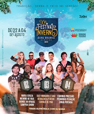 Confira a programação oficial do 16º Festival de Inverno de Água Branca/AL