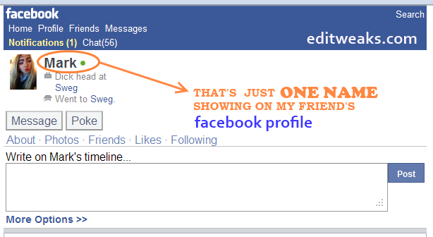 one name facebook profile