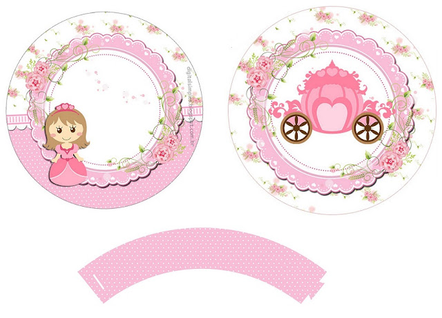 Baby Princess: Free Printable  Cupcake Wrappers and Toppers.