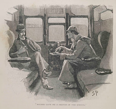 Sherlock Holmes explains a case to John Watson in a train compartment