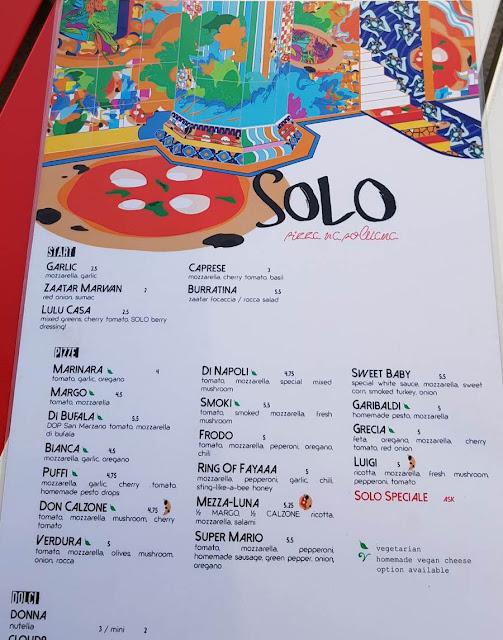 منيو مطعم سولو بيتزا