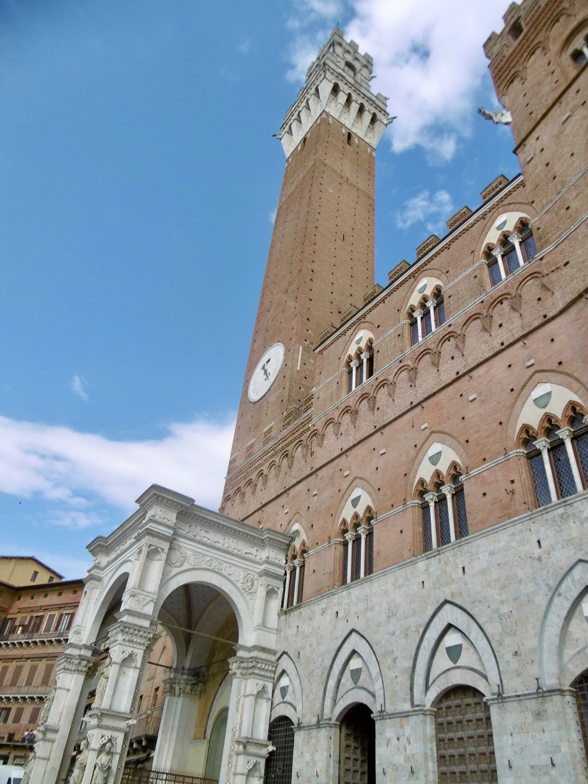 Siena Square looking up at the tower you can climb.  Cal McTravels