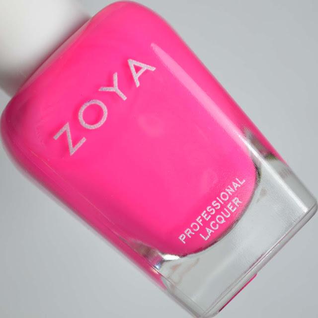 matte neon fuchia nail polish in a bottle