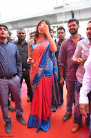 Puja Hegde looks stunning in Red saree at launch of Anutex shopping mall ~ Celebrities Galleries 118.JPG