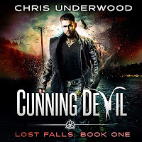 Cunning Devil audiobook cover. A dark-haired man in a black leather coat strides out of a gritty, urban landscape.