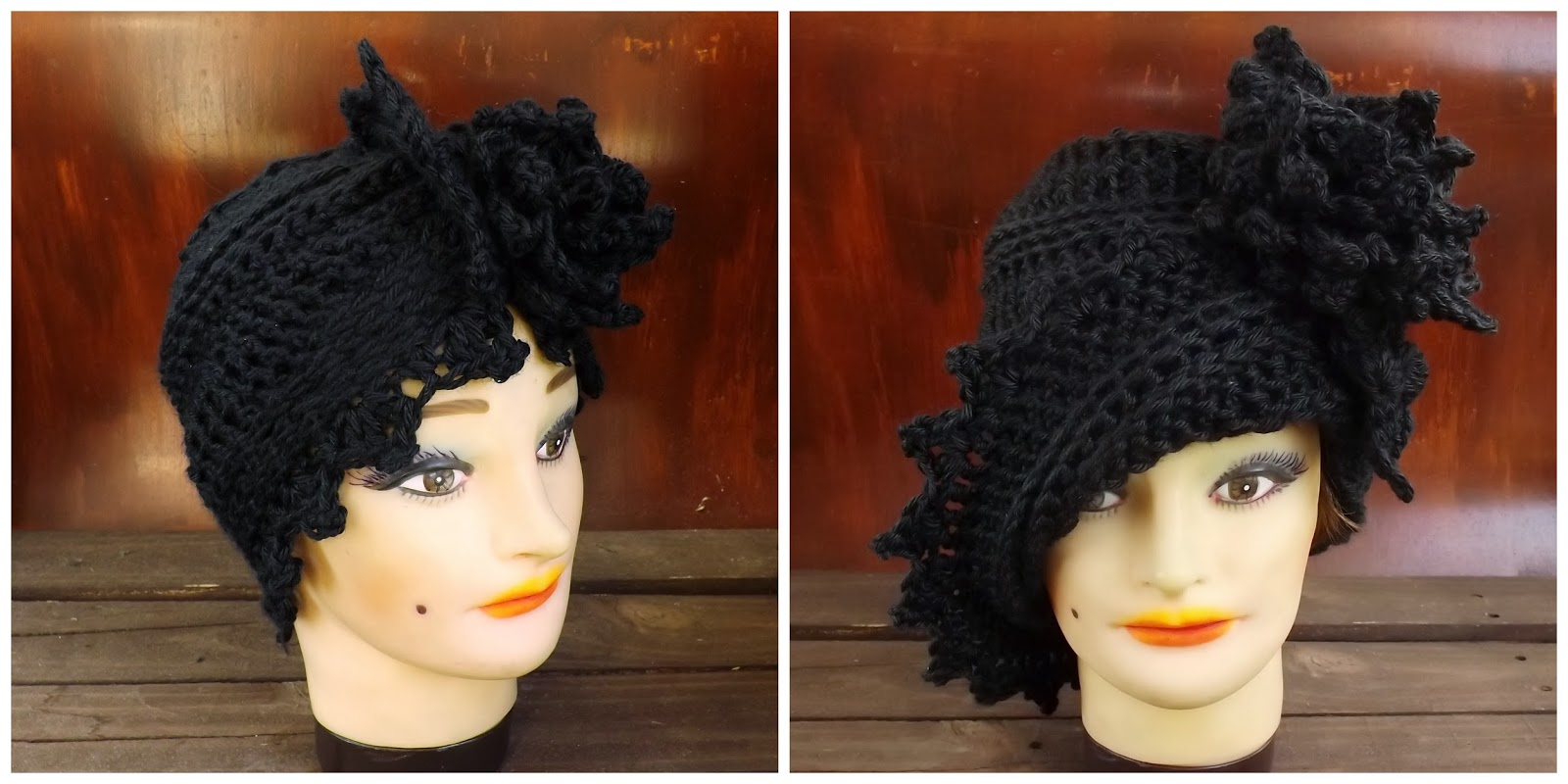 The ALEJANDRA Crochet Turban Hat in Black (left) and LAUREN Crochet Cloche Hat in Black Hat (right)