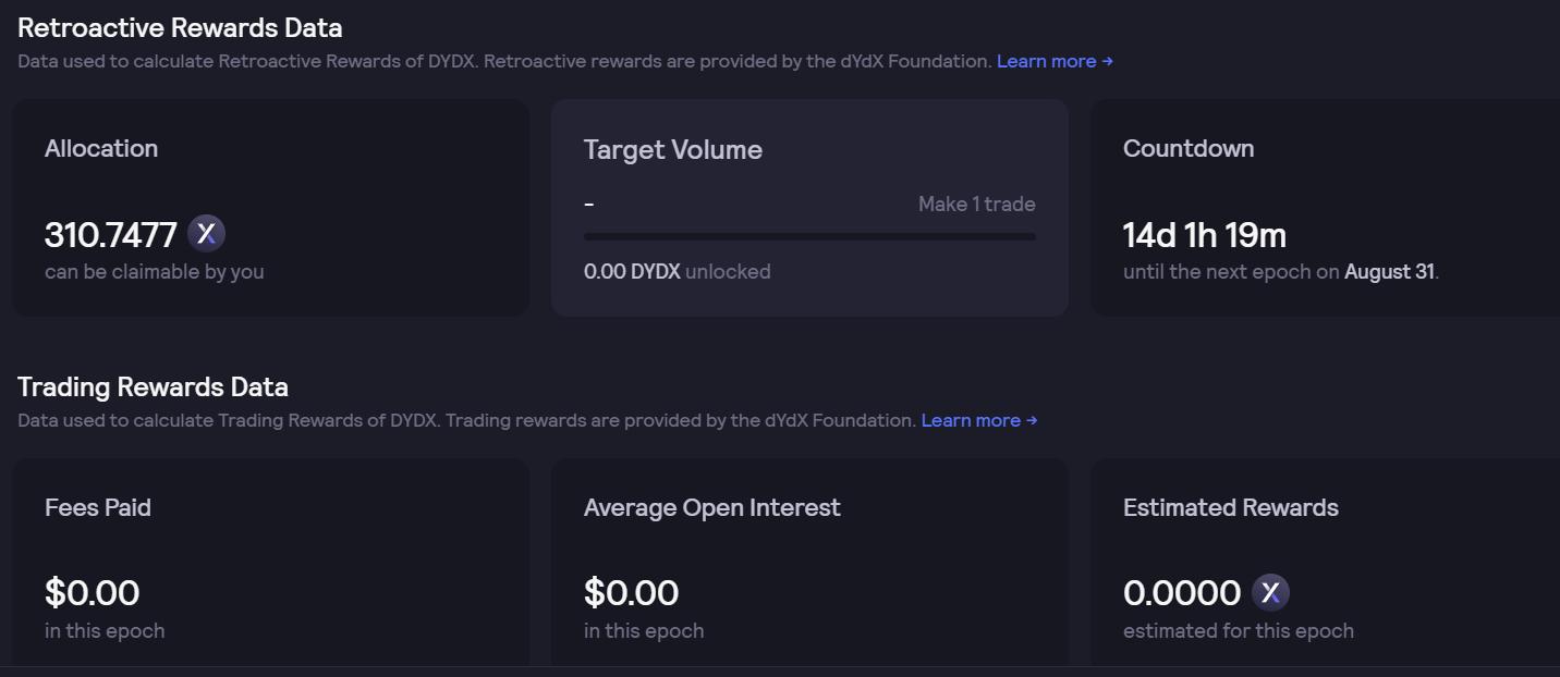 DYDX retroactive mining rewards