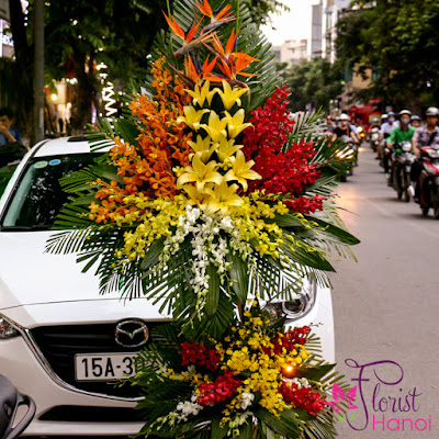 Orchid flower arrangement for opening ceremony