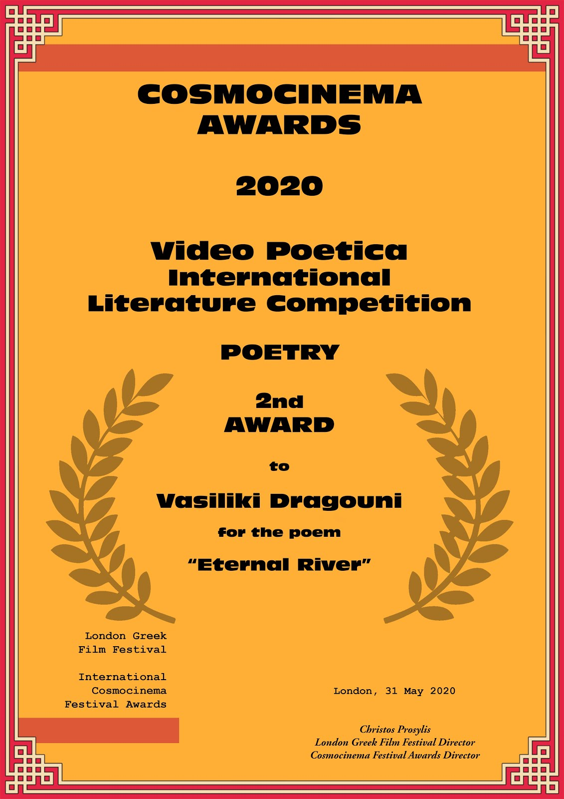 COSMOCINEMA 2020 - VIDEO POETICA AWARDS