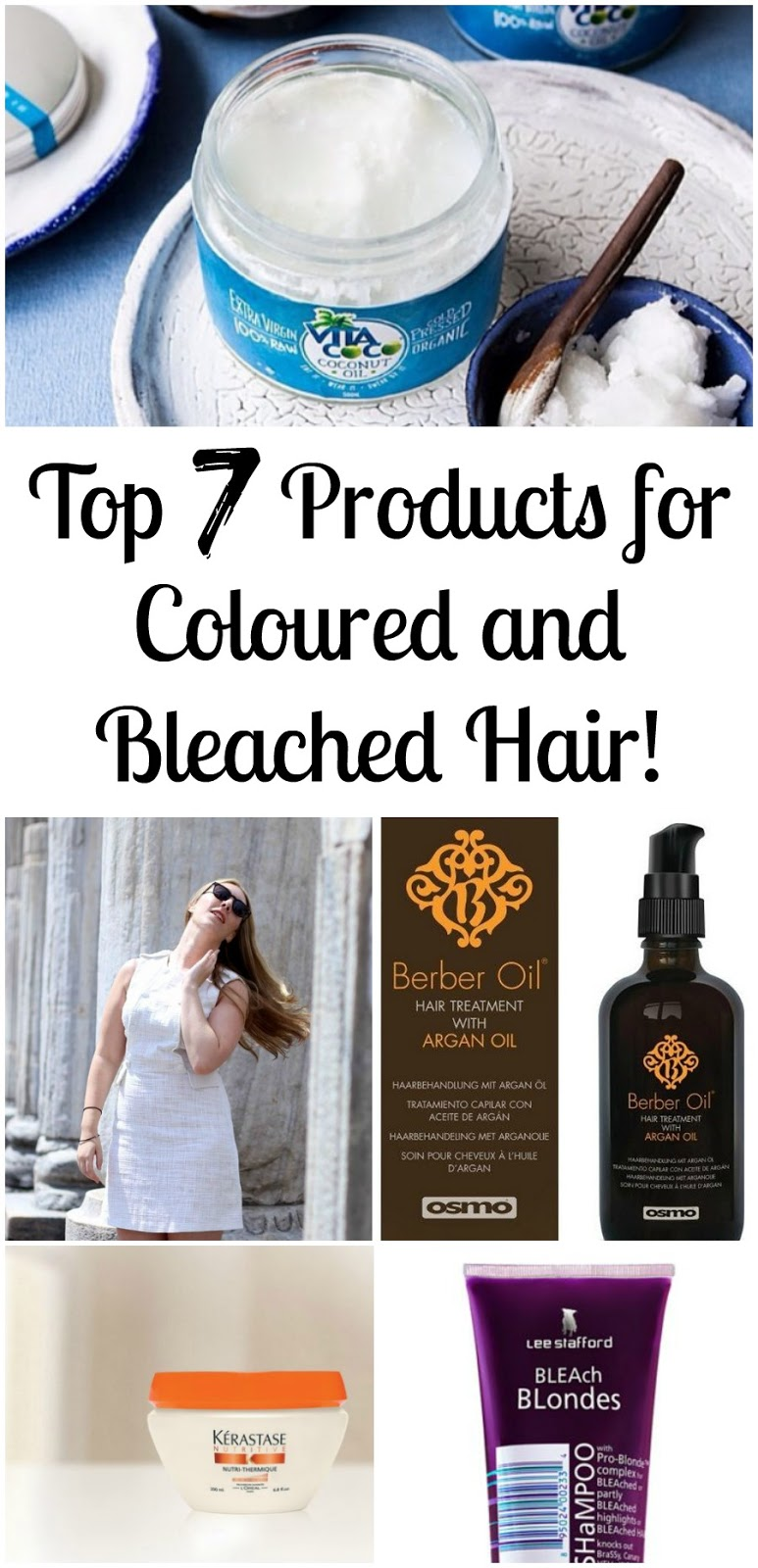 *PIN FOR LATER* The Top 7 Products for coloured and bleached hair - FIVE of these products are natural and organic hair care products!! Only two of them contain harsh chemicals, and one of those is a silver shampoo.