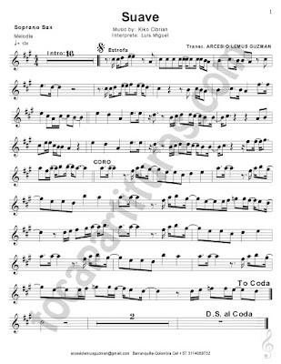 Hoja 1 Suave Partitura de Saxofón Tenor / Soprano Saxophone Sheets Music Scores Sirve para Trompeta y Clarinete en Si bemol