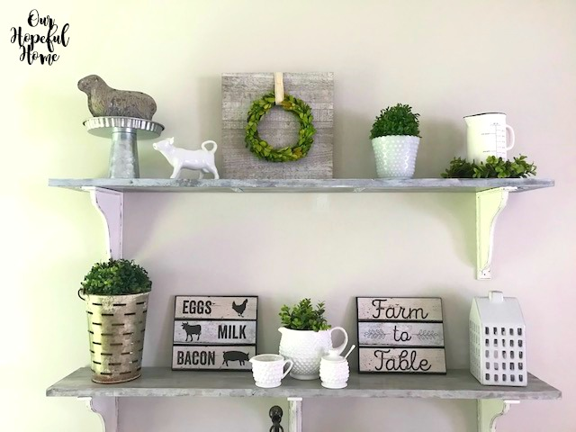 whitewashed farmhouse shelves dining room eggs bacon sign olive bucket