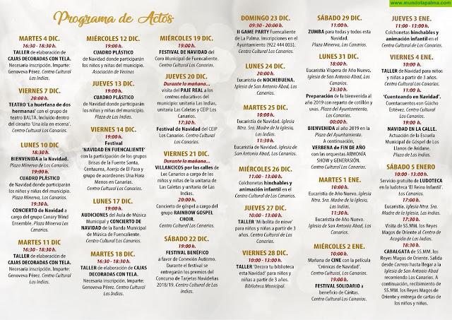PROGRAMA DE ACTOS DE NAVIDAD 2018-19 EN FUENCALIENTE