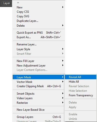 Cara membuka Layer Mask dengan menu Photoshop