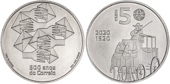 Portugal 5 euro 2020 - 500 Years of the Portuguese Post
