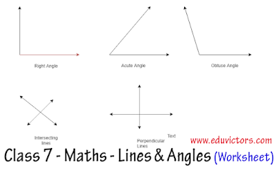 CBSE Class 7 Maths - Lines and Angles - Worksheet -2 (#eduvictors)(#cbsenotes)