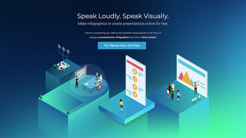 Visme offers a solution for transforming data into compelling presentations.